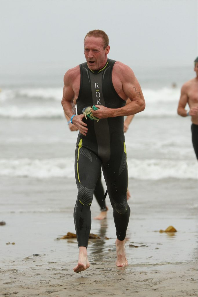 Dr. Robert Shumway emerges from The Ocean Triathlon.