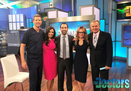 "Los Angeles Facial Plastic Surgeon Dr. Kian Karimi with the team of CBS ""The Doctors"" TV Show."